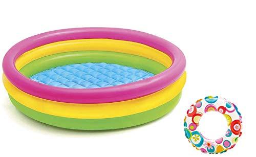Aufblasbares Planschbecken Babypool Baby-Schwimmbad Swimmbad kleiner Pool mit aufblasbarer Boden Rund Regenbogen Farben Bunt 114 x 25 cm groß für Balkon Garten Terrasse Spielzeug
