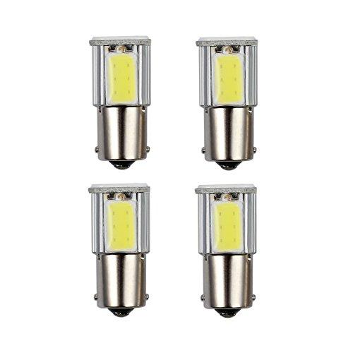 Justech 4PCS Bombillas LED Luz Señal de Giro del Automóvil Luz Trasera para Coche 12V 1156 BA15S 382 P21W 12V 4 COB Bombillas de Luces LED Blanco Frío