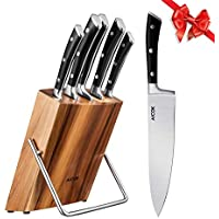 AICOK Juego de bloques de Cuchillo cocinero profesional   6 piezas   Extra fuerte   acero inoxidable   mangos ergonómicos   Acero inoxidable de alto carbono