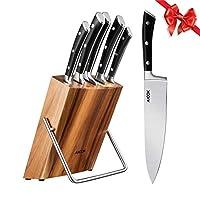 set coltelli, 6 pezzi coltelli da cucina in acciaio inossidabile, set coltelli professionali cucina ceppo coltelli blocco in legno utensili da cucina da aicok