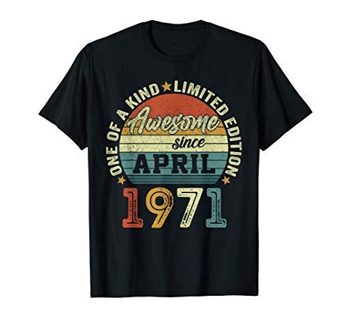 50 Anni Compleanno Uomo Annata 1971 Vintage Aprile 1971 Maglietta