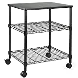 HUANUO Printer Stand - 3 Tier Printer Cart for Storage, Holds up to 200 lbs, Multifunctional Metal Utility Shelves, Workspace Desk Organizer, Rolling Cart for Home & Office Use