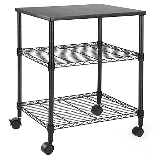 HUANUO Printer Stand, 3 Tier Printer Cart for Storage, Holds up to 200lbs, Multifunctional Metal Utility Shelves, Workspace Desk Organizer, Rolling Cart for Home & Office Use, HNPS01