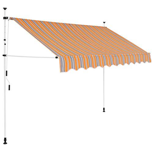 EBTOOLS Terrassenmarkise, 300 cm Handbetrieben Außenmarkise Einziehbare Markise Manuell Sonnenschutz Markise, Maximale Projektion 120 cm, Gelbe und Blaue Streifen