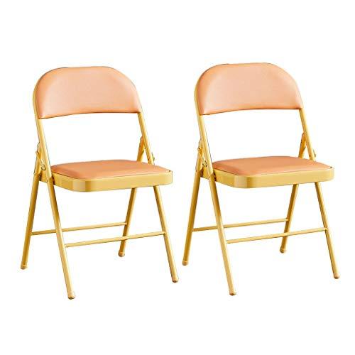 ZWJLIZI (2 stücke) Klappstuhl, Haushalt Tragbare Stahl PU Kissenstuhl, Einfache Eisenrahmen Farbe Computer Büro Konferenzstuhl (Color : I)