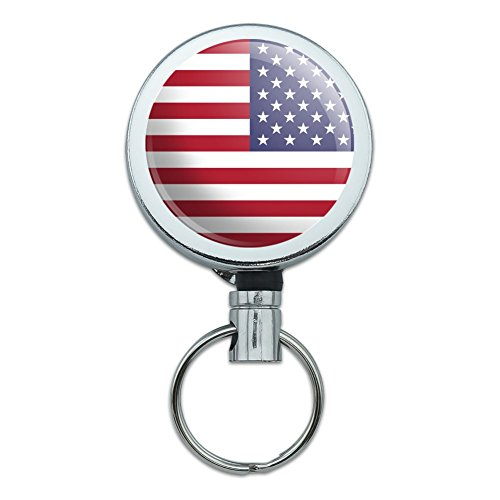 Reversed USA American Flag Red White Blue Military Heavy Duty Metal Retractable Reel ID Badge Key Card Tag Holder with Belt Clip