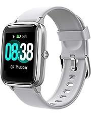 YONMIG Smartwatch, fitnessarmband, tracker, volledig touchscreen, waterdicht IP68, polshorloge, smart watch met stappenteller, hartslagmeter, stopwatch, sporthorloge, bluetooth, voor iOS en Android, dames en heren