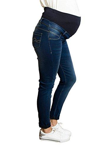 M.M.C. Mama Super Skinny Denim Schwangerschafts-Jeans mit verstellbarem Überbauchbund | Schwangerschaftshose mit Überbauchbund | Umstandshose | Umstandsjeans | Umstandsmode (Dunkelblau, 44)
