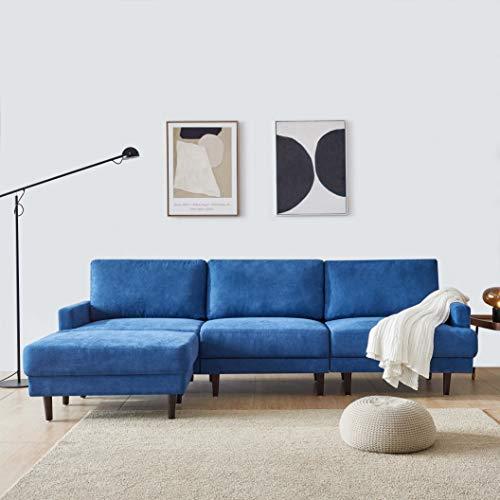 Sofa für Wohnzimmer Ecksofa mit Schlaffunktion in Dunkelblau mit großen Rücken-Kissen und Zierkissen, Microfaser-Stoff | Gemütliches L-Sofa mit Longchair im modernen Look