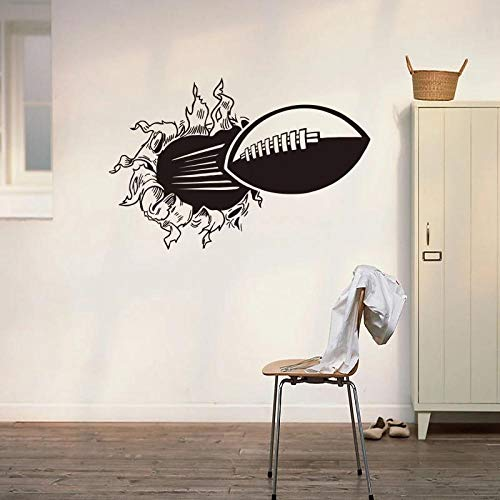 3D Rugby Football Through The Wall Sticker,For Kids Room Living Room Sports Home Decoration Mural,Wall Stickers Decals Wallpaper