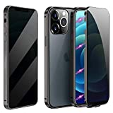 Magnetic Case for iPhone 7 Plus/8 Plus, Anti Peep Magnetic Double-Sided Privacy Screen Protector Clear Back Metal Bumper Antipeep Cases Anti Peeping 2 Sided Cover for iPhone 7 Plus/8 Plus-Black