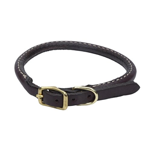 Circle T Leather Coastal Pet Products Round Dog Collar with Solid Brass Hardware, 3/8