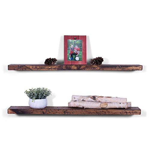 DAKODA LOVE 36' x 5.25' Rugged Distressed Solid Wood Floating Shelves | Premium Handmade Quality | Easy Hidden Bracket Wall Mount | Farmhouse Rustic Pine | Set of 2 (Bourbon)