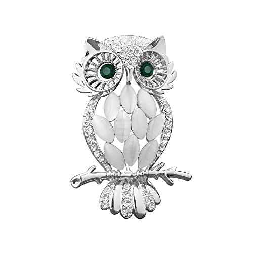 UNIQUEEN Vintage Opal Crystal Owl Brooch Ladies Brooches Pins for Women