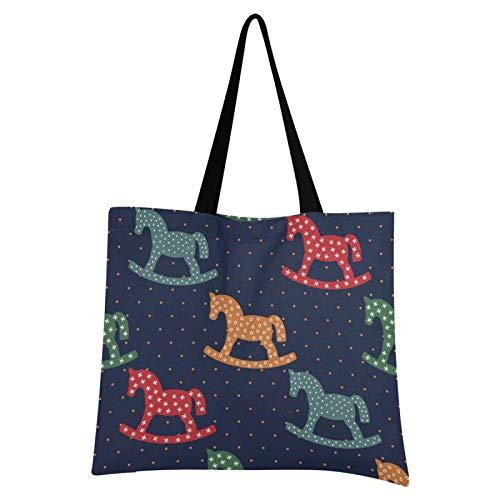 Bolsa de lona Bolsa de tela de compras de caballos mecedora