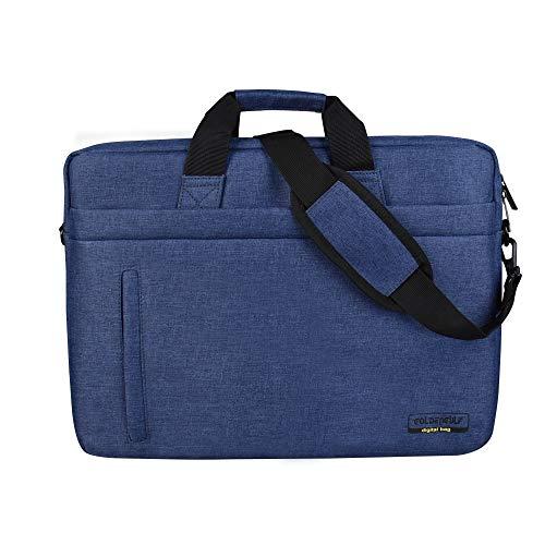 Goldengulf Laptop Computer and Tablet Shoulder Bag Carrying Case Fits for 13-15.6 Inch Notebook Sleeve Business Briefcase Lightweight Waterproof Messenger Handbag (14-14.6 inch, Blue)