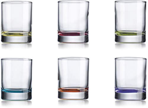Juego de 6 vasos de chupito de colores para decoración de comedor, tequila, whisky, vodka, brandy, bourbon (2 oz)