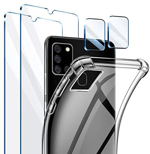 AROYI Cover Compatibile con Samsung Galaxy A31, 2 Pezzi Vetro Temperato e 2 Pezzi Pellicola Fotocamera,Trasparente
