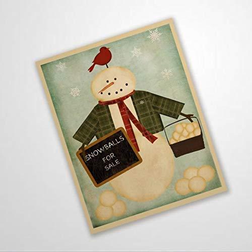 BYRON HOYLE Cartel de corona de muñeco de nieve con diseño de bolas de nieve para la venta
