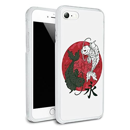 Fundas para teléfono Pure Clear TPU Anti-Fall compatibles con iPhone 12/12 Pro MAX 12 Mini 11 Pro MAX SE X XS MAX XR 8 7 6 6s Plus Funda-Yin and Yang Red Moon - Japanese Asian Koi Carp Fish