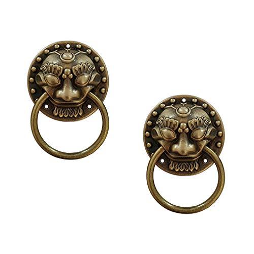 Tiazza 2 unids estilo chino latón antiguo anillo tirar de l