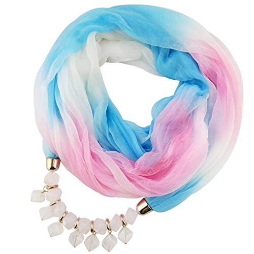 SUCES Schal Damen Halskette Schmuck Halstuch mit Abnehmbarer Anhänger Farben Auswählbar Chiffon Schlauchschalfür Frauen Halskette mit Perlen Anhänger Gradient Schal Lätzchen