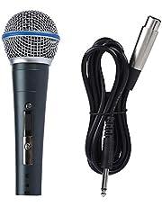 Sanpyl trådbunden mikrofon dynamisk 140dB SPL 6,5 mm jack handhållen dynamisk mikrofon med 2,5 mv/pa hög känslighet klar trådbunden mikrofon för karaoke, prestanda, tal