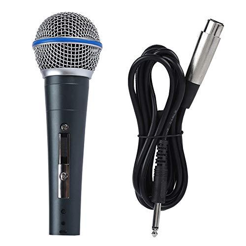 Tosuny Microfono cablato per Karaoke Microfono Jack KTV dinamico da 140dB SPL 6.5mm Microfono da Cavo ad Alta sensibilità da 2.5mV / Pa Clear Nero