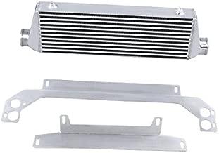 SUNROAD 28 x 7 x 2.5 Universal Turbo Intercooler Kit With Intercooler 12pcs Chrome Piping 12pcs 2.5 Black Coupler Hoses 24pcs T-Bolt Clamps Silver