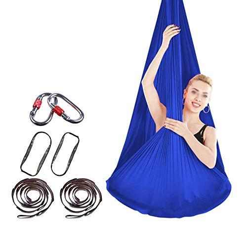 ZHJIUXING SF Hanging Chair Stand,Yoga Flying Hammock Swing Aerial-Yoga Hammock Silk Fabric For Yoga Anti-Gravity Pilates, Blue