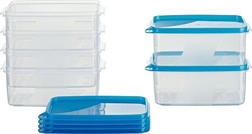 MiraHome Frischhaltedose Gefrierbehälter 0,75l Rechteckig hoch 15x10x7 cm 6er Set blau Austrian Quality