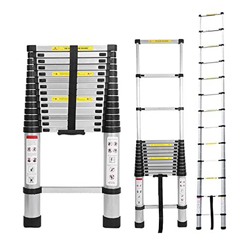 Telescoping Extension Ladder 14.5FT Aluminum Folding Ladder Loft Attic Ladder Non-Slip Securing Strap Easy to Store Multi Purpose Easy to Store EN131 Safe Standard for Roof Business Household Loft RV