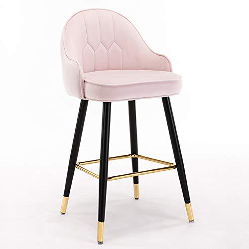 Taburetes de bar, silla de cocina para el hogar, silla alta para restaurante de hotel, con reposapiés, cojín de esponja, suave y cómodo/C / 55CM