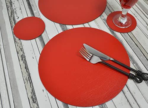 Giftag Lot de 6 Artisan Rouge Rond Cuir reconstitué Sets de Table et 6 Dessous de Verre, fabriqué au Royaume-Uni, 12 pièces