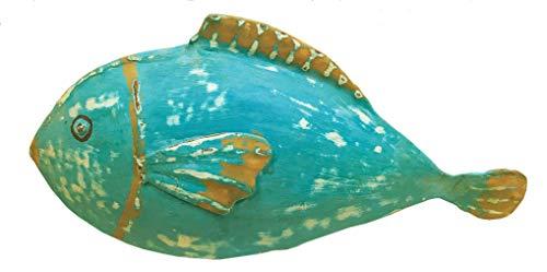 bellarte dekorative ausgefallene Metallfigur Deko-Figur Fisch in 3 möglichen Farben (türkis)