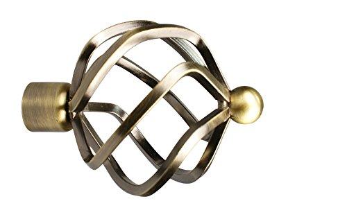 Gardinenstangen Endstück Flammenkugel aus Metall für 16 mm Durchmesser, Messing Antik