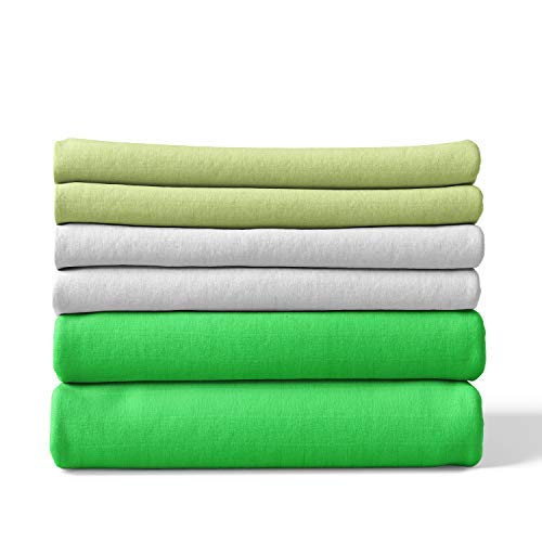 Mullwindeln | Spucktücher - 6er Pack | 80x80 cm - 2 grün, 2 hellgrün, 2 weiß | Oeko-Tex Standard 100 | kochfest bei 95° C | Moltontücher | Baumwolltücher | Mulltücher | Stoffwindeln