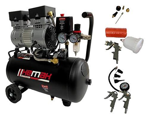 HEMAK HK-SK24/8 Silent Kompressor inkl. Druckluft-Set 8 bar 24L 750W Zubehör 2 Zylinder 165 l/min