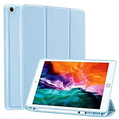 SIWENGDE Case for iPad 10.2 Inch 2020/2019,Slim Lightweight Stand Protective Case for iPad 8th Generation/iPad 7th Generation,TPU Soft Smart Cover with Pencil Holder,Auto Wake/Sleep (Light Blue)