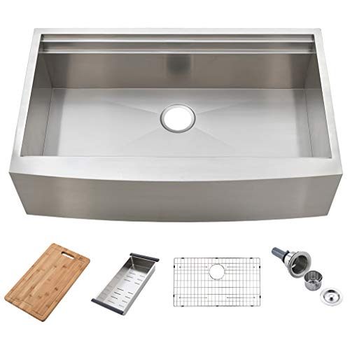 KINGO HOME 33-Inch 9 Inch 18 Gauge Single Bowl Handmade Stainless Steel Apron-front Workstation Farmhouse Kitchen Sink, Farm Kitchen Sink with Integrated Ledge and Accessories