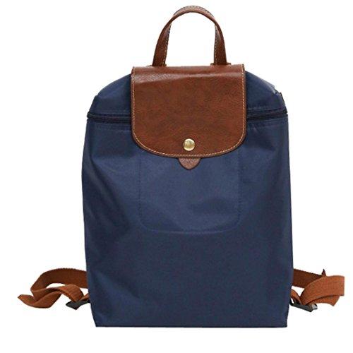 Coloré(TM Mode Femmes Vintage Sac À Dos Sac à bandoulière en nylon de voyage de loisirs Sac à dos de sac à dos d'étudiant de sac à dos de pliage (Bleu)