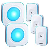 HUWOO Wireless Doorbell Waterproof Door Bell with 7 Colour Flash LED Light 36 Ringtones 4 Volume Levels Operating at 1000 Feet for Home Office 2 Plug-in Receivers & 3 Touch Buttons