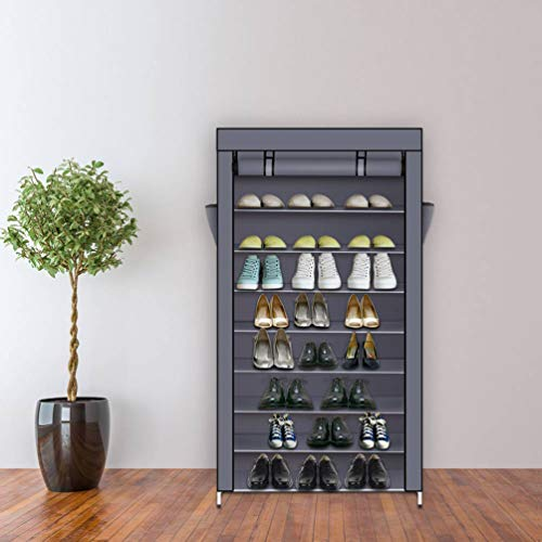 KWOPA Zapatero de 10 niveles, gran capacidad con cubierta a prueba de polvo, armario organizador de zapatos, estante de tela no tejida para entrada, armario gris 86 x 28 x 158 cm