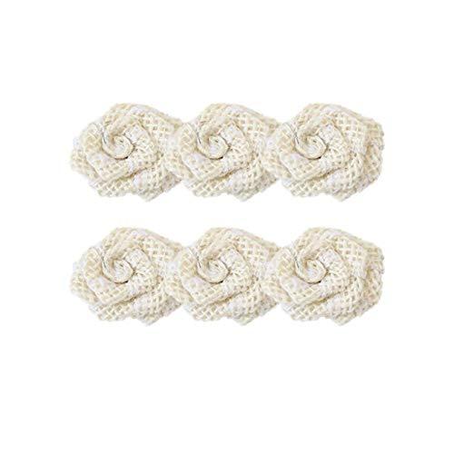 6 pezzi di lino colorato fai da te fiore artigianato decorazione di nozze vintage fatto a mano matrimonio naturale juta juta nastro Trim rustico decorazione festa accessori bianco durevole e utile