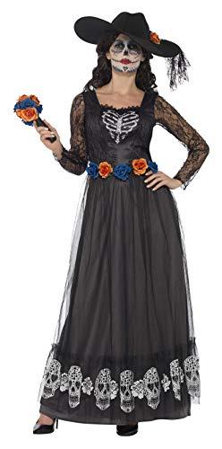 Smiffys Disfraz de Esqueleto de Novia del día de Muertos, Negro, con...