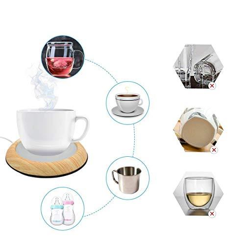UniM, USB-Kaffeewärmer, Becherwärmer für Getränke, Drinks, Tee, geeignet für Büro und Zuhause, dunkle Holzmaserung gelb