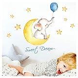 Little Deco Aufkleber Elefant mit Ballon blau & Spruch Sweet Dream I 3 A4 Bögen I Mond und Sterne Wandaufkleber Wandtattoo Kinderzimmer Deko Babyzimmer Junge DL214-6