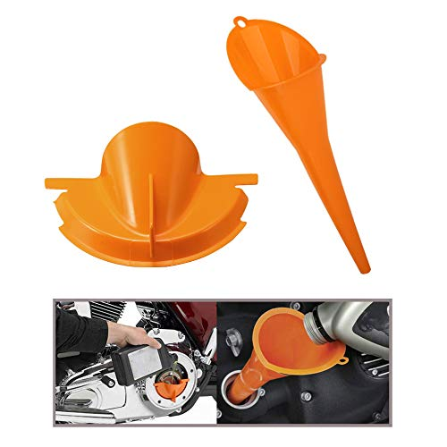 MoKo Oil Funnel, Oil Change Kit Compatible with Harley Motorcycle Refueling Funnel Long Mouth Oil Gasoline Water Filter Tool Crankcase Primary Case Plastic Set for Motorcycle - Orange
