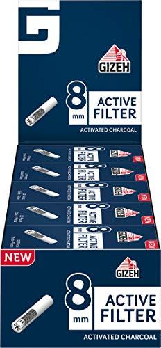 Gizeh 18413 Active Tips-8 mm Aktivkohlefilter mit Keramikkappen-25 Boxen x 10 Filter, Aktivkohle