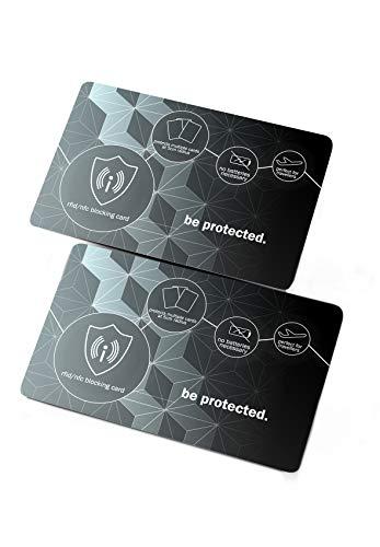 NEVEQ 2 x Tarjetas de Bloqueo RFID & NFC: Seguridad antirrobo para Tarjetas de crédito/débito/DNI. Proteja su información financiera con un excepcional de diseño Ultrafino (Gris-Negro).